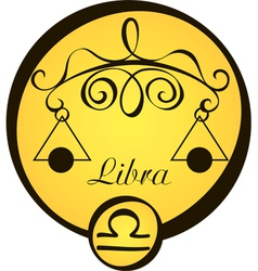 stylized zodiac signs in a yellow circle libra vector image vector image