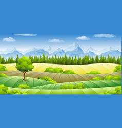 Summer landscape with fields trees and mountains vector