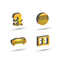 Three dimensional house equipment icon set vector