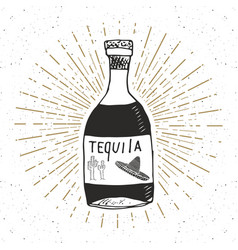 Vintage label hand drawn bottle of tequila vector