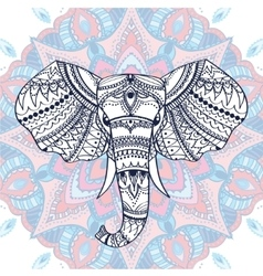 Ethnic patterned head of indian elephant vector