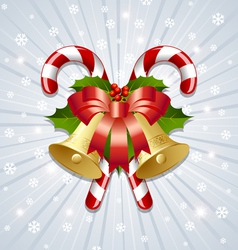 Candy canes and bells decoration vector