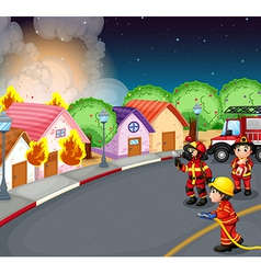 A fire at the village vector image