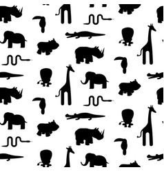 Zoo animal silhouettes seamless pattern vector