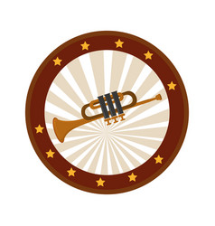 color circular frame with trumpet vector image