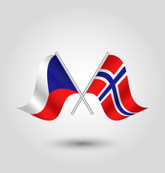 Two crossed czech and norwegian flags vector