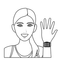 pretty woman sport with smart watch wearable vector image