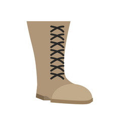 Military boots beige isolated army shoes on white vector