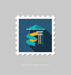 Water park summer vacation slide beach stamp vector