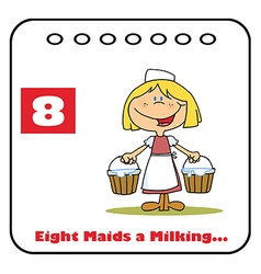 Eight maids a milking vector image