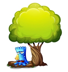 A monster crying under the tree vector