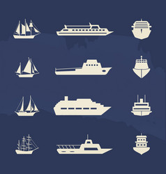 Sailboat and ship icons collection on grunge vector