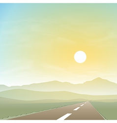 Misty landscape with road vector