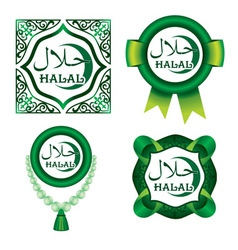Set of halal signs vector
