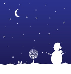 Christmas eve with snowman vector