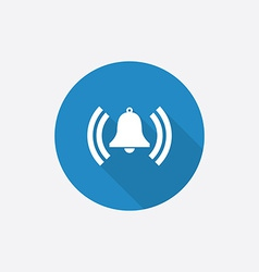 Alarm bell flat blue simple icon with long shadow vector