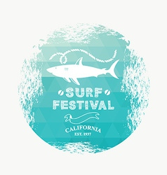 Surfing summer icon label vector