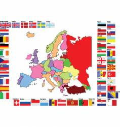 Europe map with flags vector