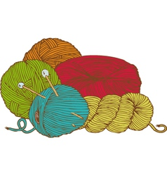 Five hanks of yarn with needles vector