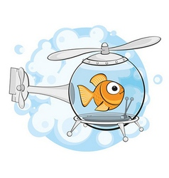 Gold fish in helicopter vector