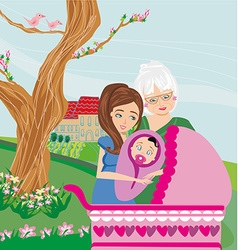 Family walk in the park with an infant vector image