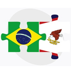 Brazil and american samoa flags vector