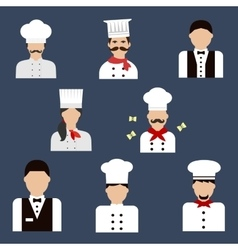 Chefs bakers and waiters flat avatar icons vector