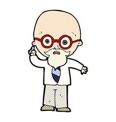 Comic cartoon professor vector