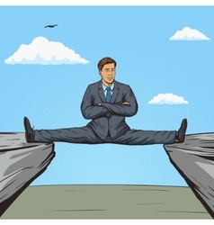 Businessman sitting on split between rocks pop art vector