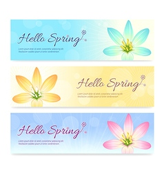 Set of colorful hello spring season banner vector