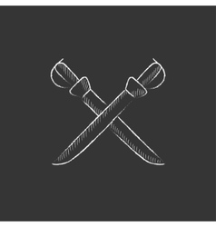Crossed saber drawn in chalk icon vector