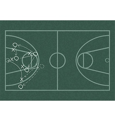 Realistic blackboard drawing a basketball game vector