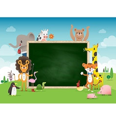 Animal cartoon frame border template vector image