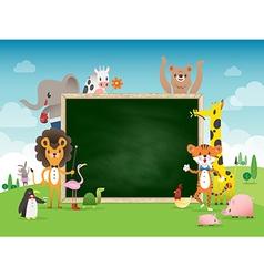 Animal cartoon frame border template vector
