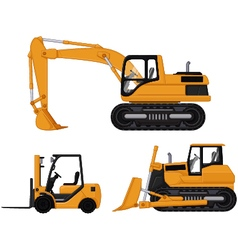 backhoe forklift and bulldozer vector image