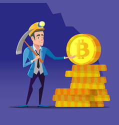 Bitcoin miner with pickaxe and golden coins vector