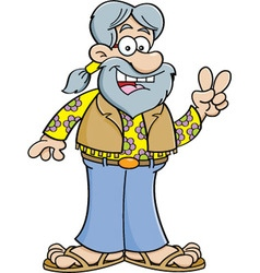 Cartoon old hippie vector