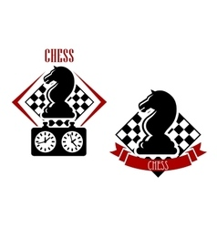 Chess badges with chessboards and figures vector