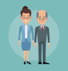 Color background full body couple of woman vector