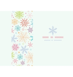 Colorful doodle snowflakes horizontal frame vector