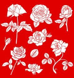 decorative rose flower set vector image vector image