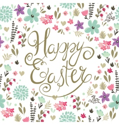 easter backgroung with spring flowers vector image