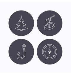 Fishing hook teleferic and compass icons vector