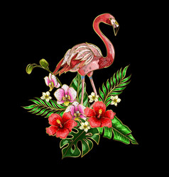 flamingo embroidery patches with tropical flowers vector image vector image