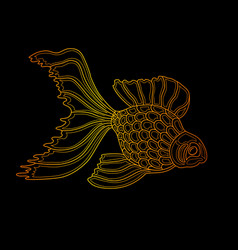 gold fish line art design vector image vector image