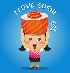 Happy woman carrying big sushi roll vector