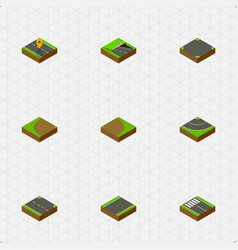 Isometric road set of strip crossroad road and vector