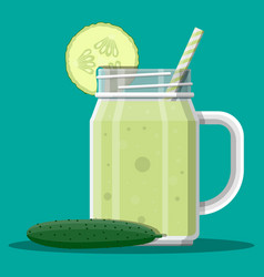 Jar with cucumber smoothie with striped straw vector