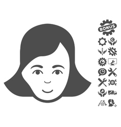 Lady face icon with tools bonus vector
