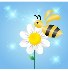 Merry bee on a flower vector